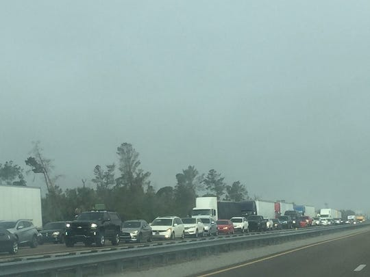 Traffic on southbound Interstate 95 was backed up for