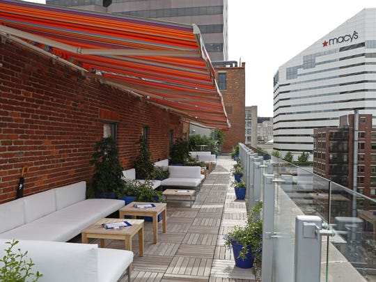 View of the 21c's new rooftop cocktail bar.