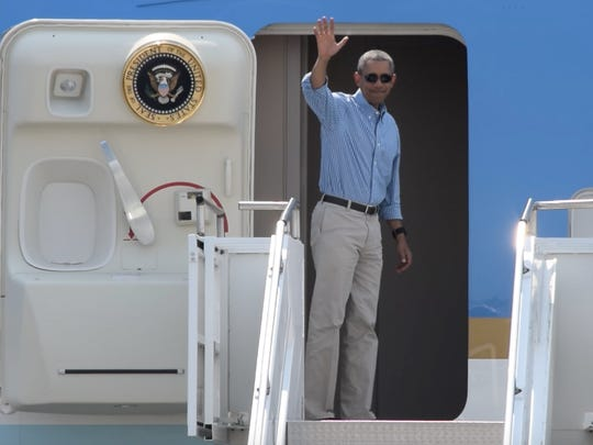 President Barack Obama waves before departing Palm Springs in June 2015.