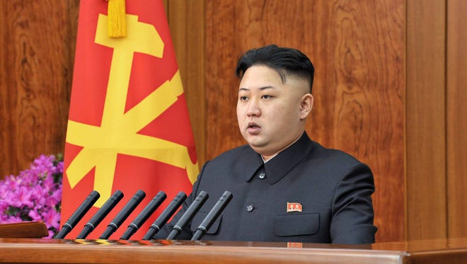 North Korean leader Kim Jong Un delivering a 2013 New Year's Day address in Pyongyang, North Korea. Crimes against humanity are being committed in North Korea under the personal control of Kim Jong Un, UN rights investigators said Monday.