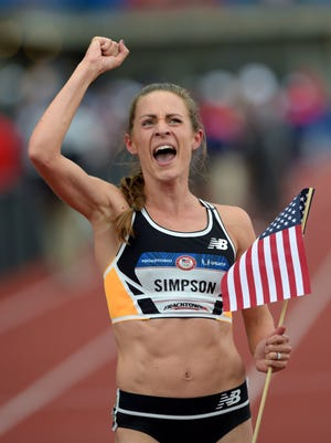 Jenny Simpson after competing in the women's 1500 meter finals Tuesday.