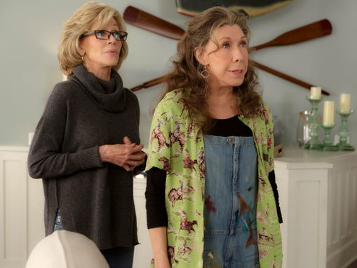 Jane Fonda, left, and Lily Tomlin in a scene from the
