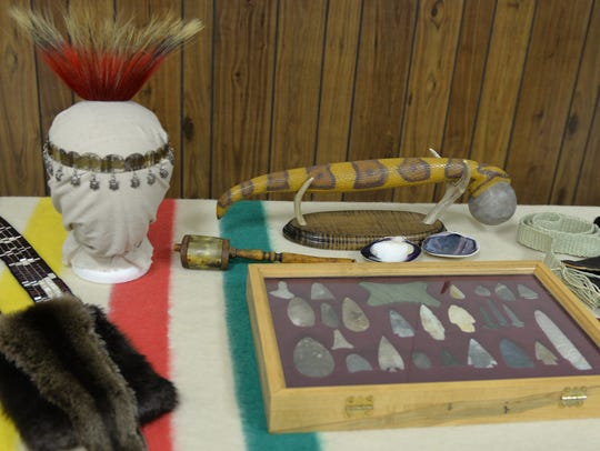Arrowheads and Native American artifacts are on display