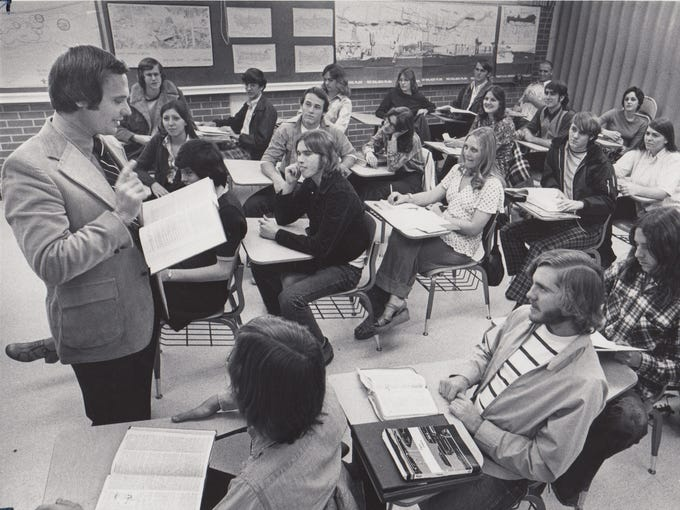 Harry Mitchell teaching his government class at Tempe