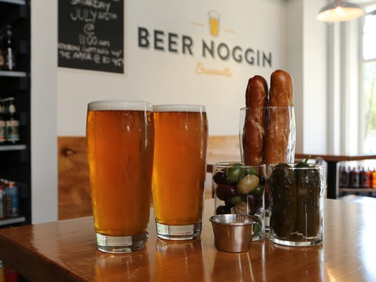 Beer and snacks at Beer Noggin, a craft beer shop and taproom on Kraft Avenue in Bronxville.