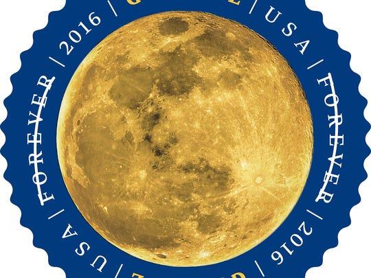 U.S. Postal Service's Global Forever moon stamp.