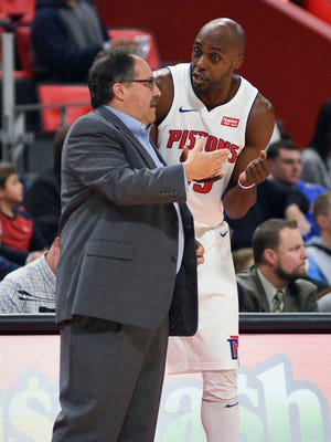 Pistons coach Stan Van Gundy talks to forward Anthony Tolliver (43) during the Pistons' 112-103 win on Sunday, Nov. 12, 2017, at Little Caesars Arena.