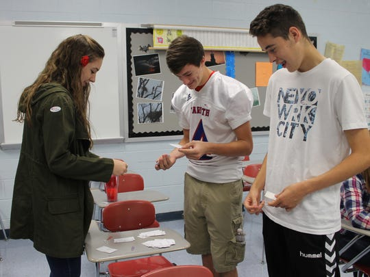 Harpeth High School students tallied the results in the school's mock presidential election. Republican nominee Donald Trump beat Democratic nominee Hillary Clinton 340-111.