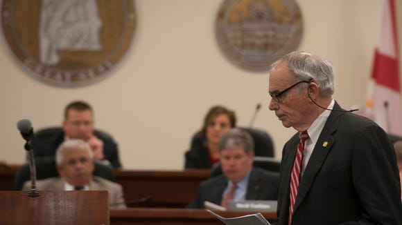 Gov. Robert Bentley's lead attorney David Burne goes to speak during a committee meeting on the investigation into the possible impeachment of Governor Robert Bentley on Tuesday, Sept. 27, 2016, in Montgomery, Ala.