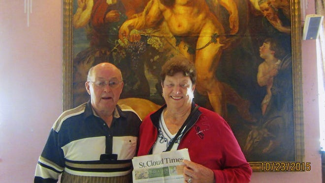 Jerome and Dolores Supan in the Napoleon room at their bed and breakfast in Ljubljana.