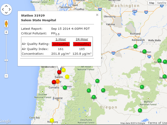 """Salem's air quality has been categorized as """"unhealthy"""" as of Monday afternoon."""