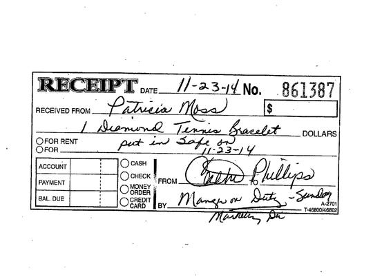A handwritten receipt, showing that the diamond bracelet was received by the Rancho Mirage Health and Rehabilitation Center.
