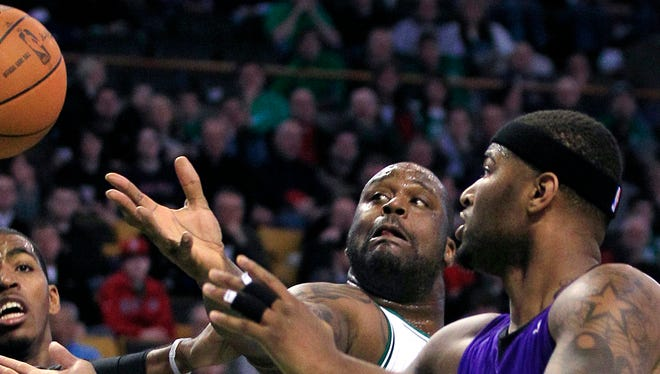 When Shaquille O'Neal was in Boston, he went up against the Sacramento Kings' DeMarcus Cousins.