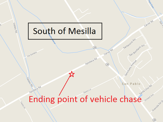 A high-speed police pursuit that wound through Las Cruces streets and along two interstate highways ended Thursday night south of Mesilla.