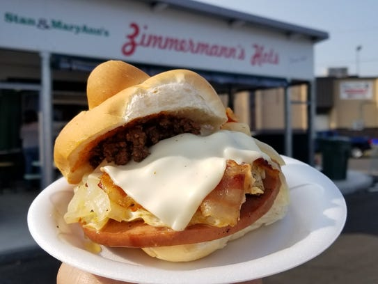 Bologna Supreme sandwich from Zimmerman's Hots.