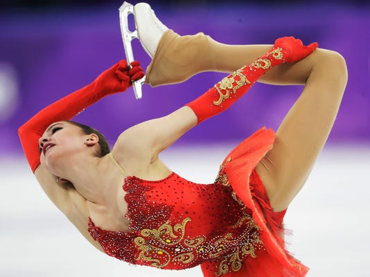 Alina Zagitova of the Olympic Athletes of Russia performs during the women's free figure skating final in the Gangneung Ice Arena at the 2018 Winter Olympics in Gangneung, South Korea, Friday, Feb. 23, 2018. (AP Photo/Bernat Armangue)