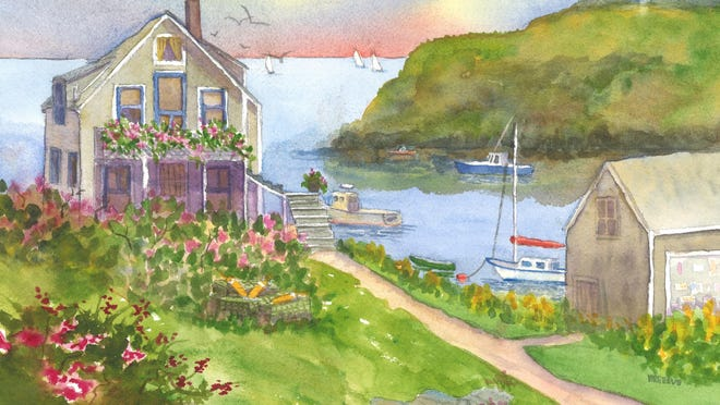 """Cooks House, Monhegan Island,"" by Roseann Meserve, is one of her works that will be part of an exhibit at the Franklin Gallery in Rochester during the month of September."