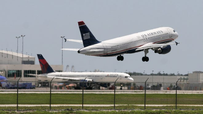 A U.S. Airwaysflight takes off from Southwest Florida International Airport.
