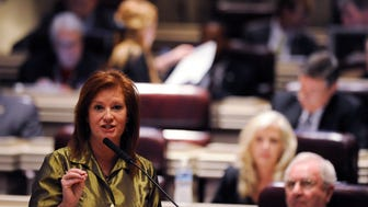Rep. Terri Collins (R-Decatur) speaks during depute on the Charter Schools Bill on the house floor in the Alabama Statehouse in Montgomery, Ala. on Wednesday March 18, 2015. Collins is sponsoring a bill to remove the State Board of Education from the appointment process to a commission overseeing charter schools.