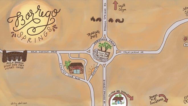 "Borrego Springs. Borrego is Spanish for ""big horn sheep."""
