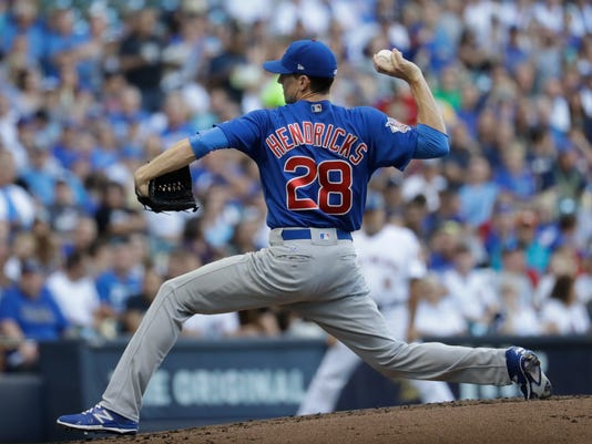 Chicago Cubs starting pitcher Kyle Hendricks throws during the first inning of a baseball game against the Milwaukee Brewers Saturday, July 29, 2017, in Milwaukee. (AP Photo/Morry Gash)