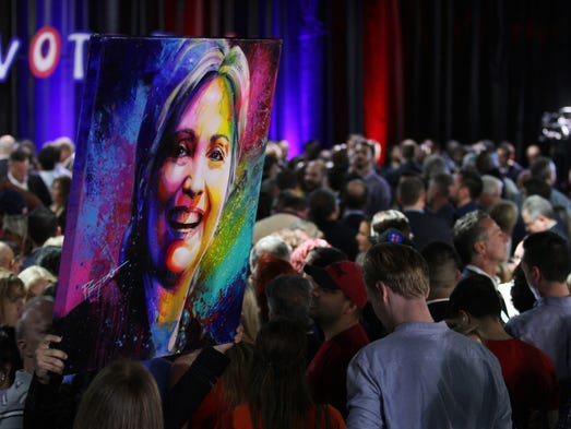 Supporters of Democratic presidential hopeful Hillary