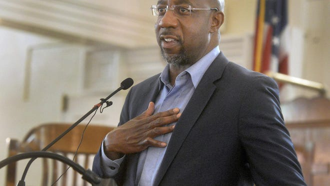 Rev. Raphael Warnock speaks at Savannah's First Bryan Baptist Church during a campaign visit on Sept. 19.