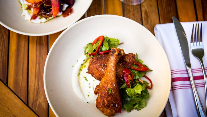 Chicken and roasted beet dishes from Pleasantry