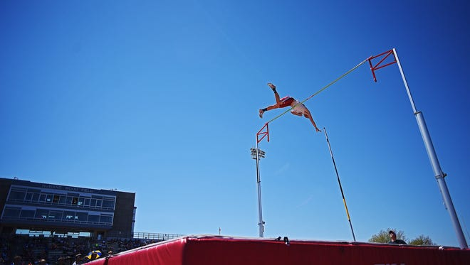 USD's Chris Nilsen competes in the U-C Men's Pole Vault during the Howard Wood Dakota Relays Friday, May 5, 2017, at Howard Wood Field in Sioux Falls.