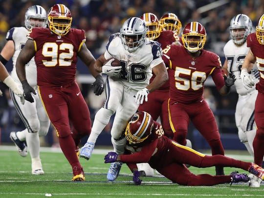 Dallas Cowboys running back Alfred Morris (46) runs