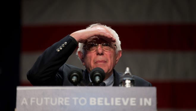 Sen. Bernie Sanders, I-Vt., looks out into the audience as he speaks at a town hall at Orpheum Theater in Sioux City, Iowa, on Jan. 19, 2016.
