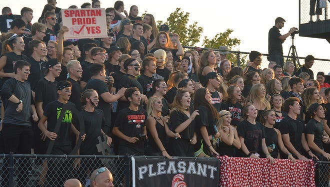 The Pleasant student section showed up big for its game with Marion Harding last week. The Spartans will have a weekend of homecoming festivities planned for next week.