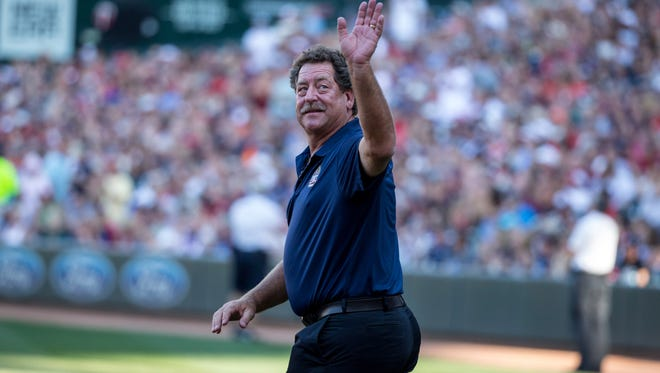 Former Minnesota Twins pitcher Frank Viola is introduced for a 30th anniversary celebration for the 1987 World Series champion team prior to the game with the Detroit Tigers  in July.