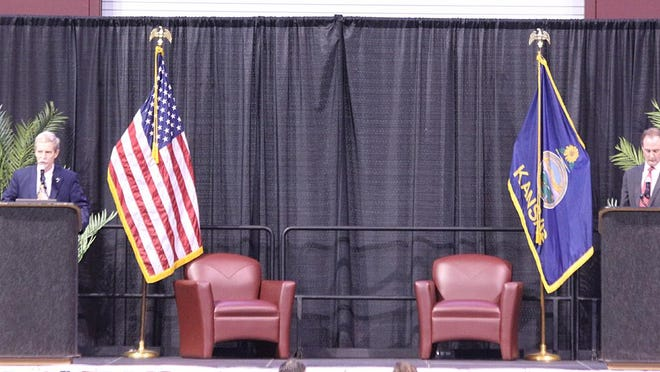 1st Congressional District candidates Bill Clifford and Tracey Mann debate Saturday at the Dodge City Republican Expo held at the United Wireless Arena.