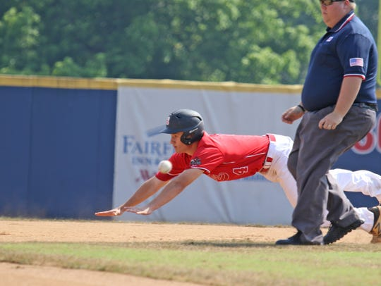 Riverheads' Grant Painter slides into second base at