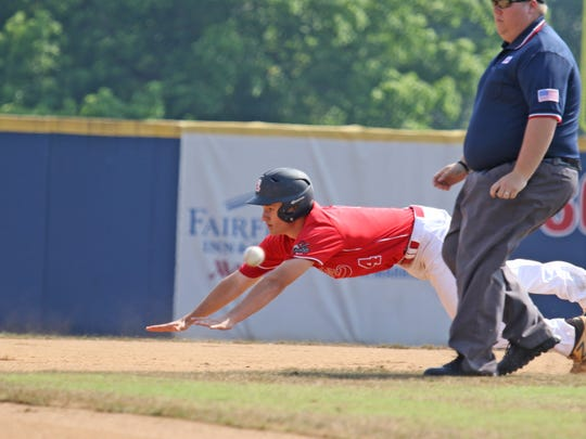 Riverheads' Grant Painter slides into second base at the Virginia High School League Class 1 state baseball championship at Radford University in Radford on Saturday, June 9, 2018.