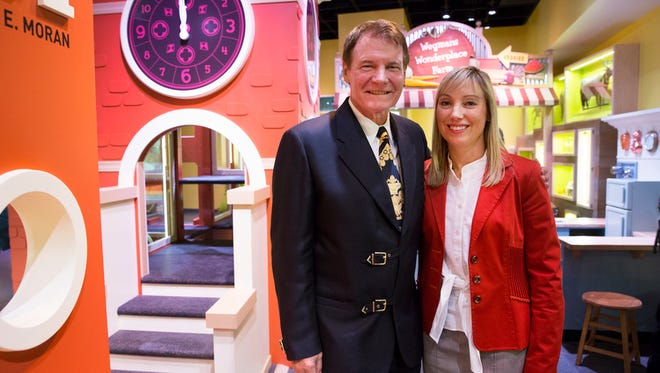 Wegmans CEO Danny Wegman and his daughter, Colleen Wegman, president, stand in the Wegmans Wonderplace exhibit at the Smithsonian's National Museum of American History on Wednesday, Dec. 9, 2015.