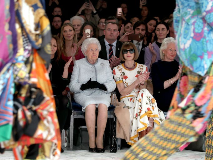 Queen Elizabeth II and Anna Wintour sat side-by-side