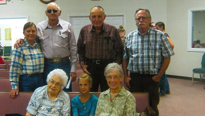 Members of Lawn Church of Christ celebrated birthdays and anniversaries in August. Seated, from left: Olivia Wood, Pecos Hopkins and Betty Jennings. Standing: Bob and Julienne Lou, Clinton Wheeler and Mike and Janie Jones (not pictured).