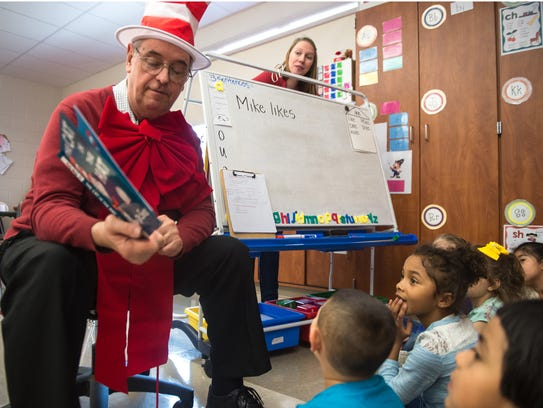 File photo of Jeff Diller reading to students at Ben Chambers Elementary School for Read Across America on Thursday, March 2, 2017.