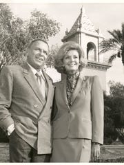 Frank and Barbara Sinatra in front of El Mirador tower on the grounds of what is now Desert Regional Medical Center.