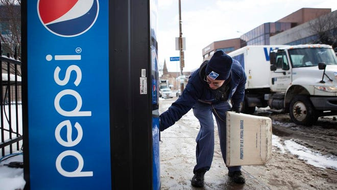One of the free Pepsi vending machines placed around the city.