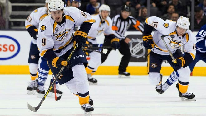 Predators forward Filip Forsberg leads the team with 23 goals this season after recording a hat trick Tuesday.