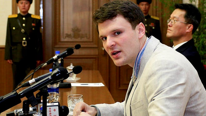 FILE - In this Feb. 29, 2016, file photo, American student Otto Warmbier speaks as he is presented to reporters in Pyongyang, North Korea. More than 15 months after he gave a staged confession in North Korea, he is with his Ohio family again. But whether he is even aware of that is uncertain. (AP Photo/Kim Kwang Hyon, File)