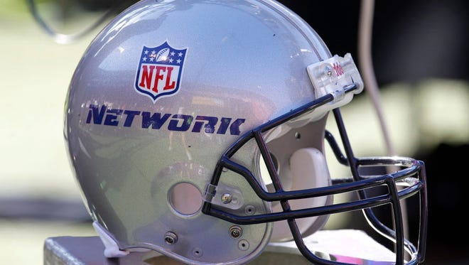 An NFL Network helmet is shown before a game between the 49ers and Seahawks.