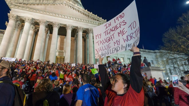 Jennyerin Steele Staats, a special education teacher, with teachers at protest outside West Virginia Capitol, Charleston,  Feb. 27, 2018.