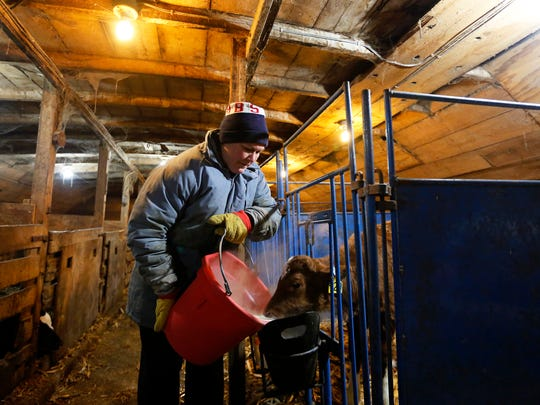 Teresa Kramer feeds milk to a calf in the heated calf nursery on the farm she and her husband own.