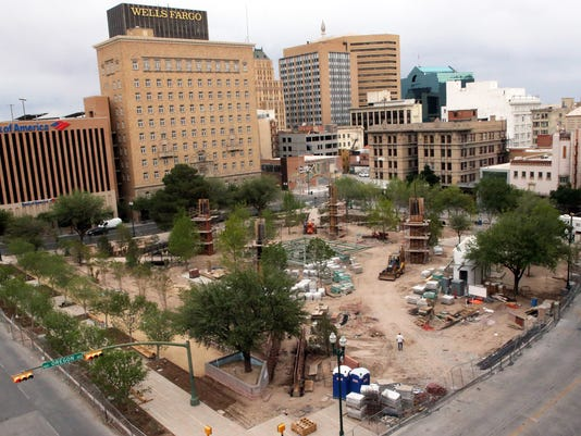 San Jacinto Plaza construction