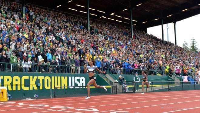 Dalilah Muhammad wins the women's 400m hurdles in 52.88 during the 2016 U.S. Olympic Team Trials at Hayward Field. The city lost in a bid to host the next Olympic Trials to LA.