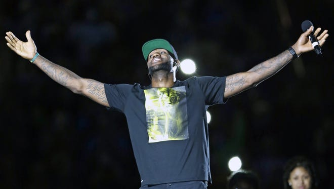LeBron James had a welcome-home celebration in Akron in August.